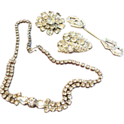 Clear Rhinestone Necklace, Brooch and Stickpin set