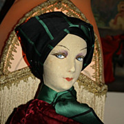 SALE Early 1920's Suede Faced  Boudoir Doll