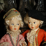 Wonderful Pair of Original Vintage Baitz Austrian Dolls - Mozart style