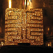 Pa.ve Set Diamond Cluster Ring with Greek Key Design