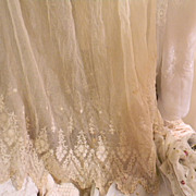 Antique, 1860's to 1910, French Fashion Lace with Very Fine Netting and Hand Embroidery Skirt