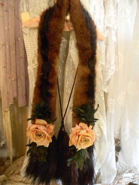 Heirloom Worthy Vintage Real Fur Wrap with Tails, Feathers and Roses