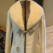 Vintage Formal White Fur Collar Full Length Designer Coat