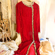 Vintage Custom Red Velvet Full Length Dress With 3D Silver Sequin Trim