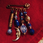 Vintage Oriental Blue and White Pin