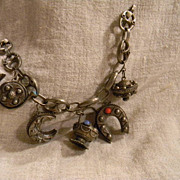 A Vintage Great Large Etruscan Charm Sterling Charm Bracelet From The 50's