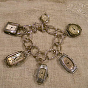 Artisan Marked  Sterling Link with Crystal Stones Vintage Watch Faces Charms