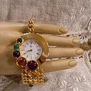 Vintage Made In Italy Goldtone and Jewels Bracelet Watch