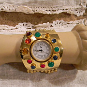Vintage Wide Flexible Multi Chain Jeweled Made in Italy Bracelet Watch