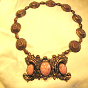 Vintage Choker Rhodochrosite Edwardian, Victorian, Downtown Abbey Style