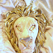 Vintage ,Necklace, Large Lion Unsigned Designer Razza, Bold