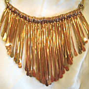 Necklace, Choker, Vintage 70's, Handmade Artsy Copper Brass Multi Strands