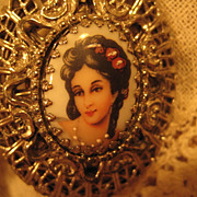Necklace,Edwardian, Victorian Style,Handpainted Woman's Face Double Locket Vintage, Great Moth