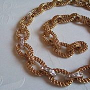 SALE KJL Kenneth Jay Lane Heavy Gold Tone Rope Chain Rhinestone Necklace