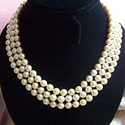 Kenneth Jay Lane KJL Famous Inaugural 3 Strand Simulated Pearl Necklace