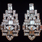 Kenneth Jay Lane KJL Crystal Clip Earrings