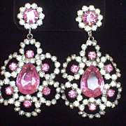 Vintage K.J.L. Kenneth Lane Clear and Pink Crystal Clip Dangle Earrings