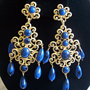 Kenneth Jay Lane KJL blue Dangling clip Shoulder Duster earrings