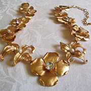 SOLD Kenneth Jay Lane KJL Dimensional Sculptural Flower Necklace WOW!!