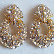 SALE Vintage Huge Chunky Goldtone Rhinestone Door Knocker Earrings Clip Backs