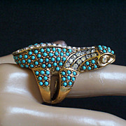SALE KJL Kenneth Jay Lane Glitzy Faux Turquoise & Crystal Ring Size 7