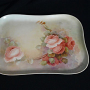 Plainemaison Limoges roses tray in hand painted porcelain