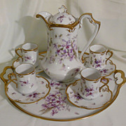 REDUCED Chocolate pot set with tray in violets Limoges porcelain