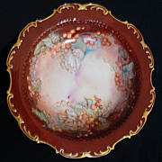 Limoges bowl with gooseberries/currents handpainted in and out  (10.5 inch)