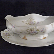 Haviland sauce/gravy boat set Limoges porcelain