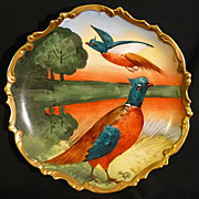L.R.L. Limoges pheasants plaque hand painted  in porcelain