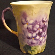 Porcelain Limoges violets chocolate cup, hand painted (J.P.L.)