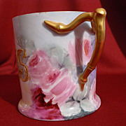(AK) Limoges porcelain roses mug handpainted  with bamboo split handle