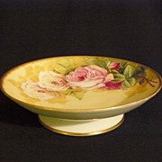 Compote/footed bowl by B & H  Baumy Limoges artist with roses