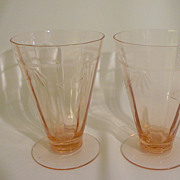 Pink Depression footed glasses with finely cut etchings
