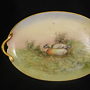 Mallard ducks Limoges tray in woodland scene