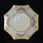 Limoges hand painted octagonal porcelain bowl by P.P.