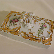 T&V Limoges desk  paperweight in hand painted roses porcelain