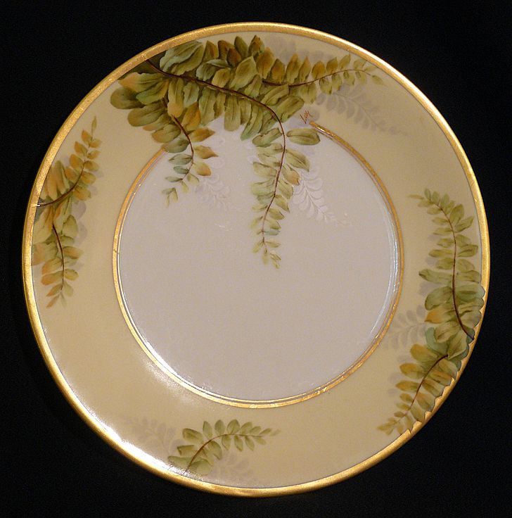 &quot;Luc&quot; T&V artist of Limoges porcelain plate of ferns