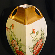 Tall Austrian hand painted vase with poppy panels