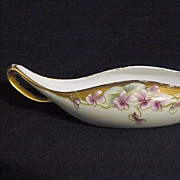 Hand painted violets porcelain, T & V Limoges condiment/sugar cube