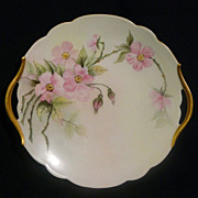 T&V Limoges cake plate tray with hand painted wild roses