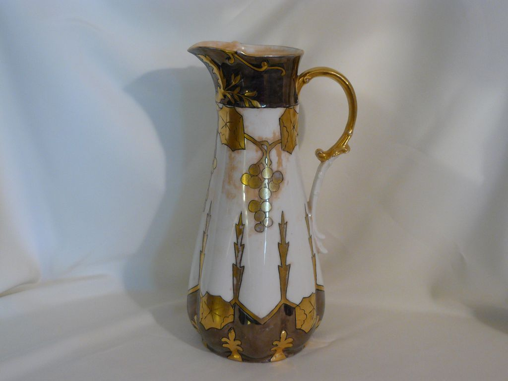 Platinum and gold hand painted Limoges porcelain pitcher