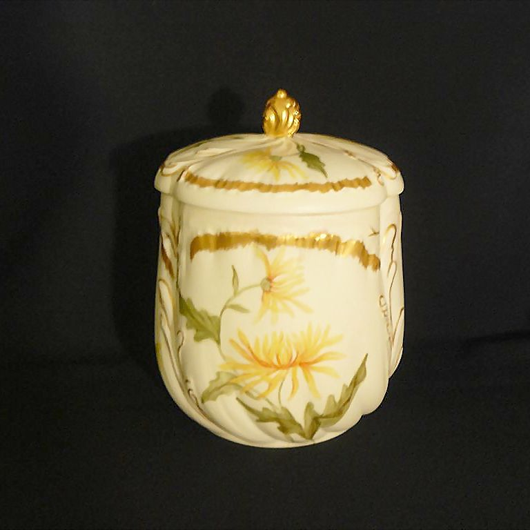Antique Martial Redon biscuit/cracker jar in hand painted Limoges porcelain