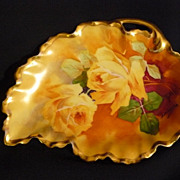 Bronssillon artist reticulated roses dish/nappy  on Limoges