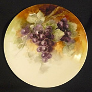 Grapes JPL (Pouyat) Limoges hand painted 9 inch plate