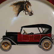 Vintage car, equestrian, and outdoorsman hand painted gentleman's Limoges tray of a by-gone er