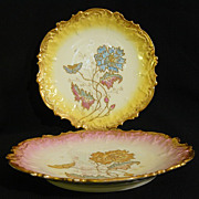 Reduced **  Porcelain hand painted pair Limoges Ahrenfeldt plates