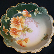 "B&H bowl with roses by Limoges factory artist ""Nice"""