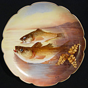 Biarritz fish plaque by Limoges factory artist signed