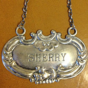SALE Sterling Silver Decanter Label Sherry